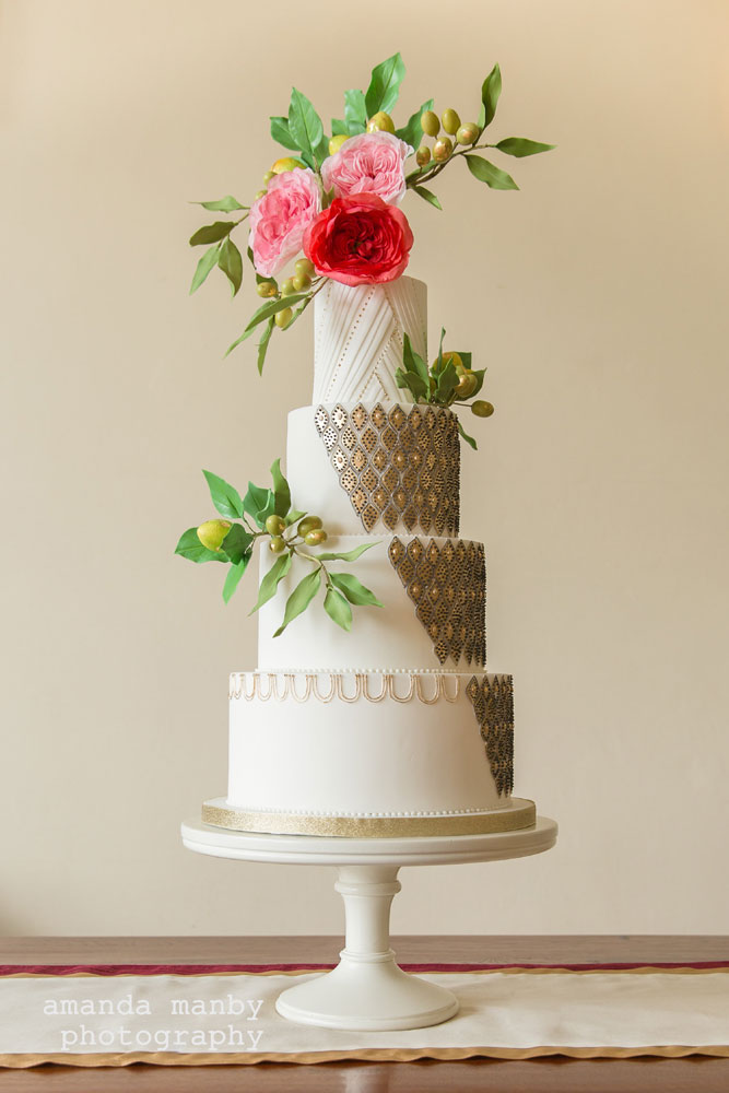 Moroccan lantern-inspired wedding cake