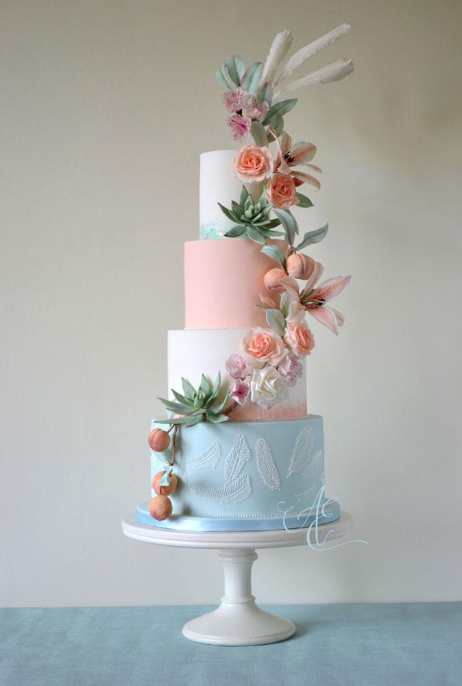 wedding fair mint peach white wedding cake