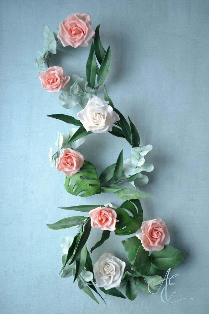 sugar flower and foliage wreaths