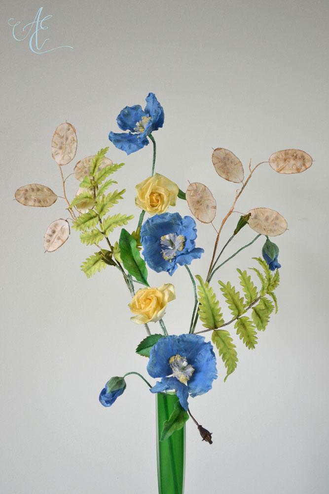 Blue Himalayan Poppy Lunaria Fern Arrangement