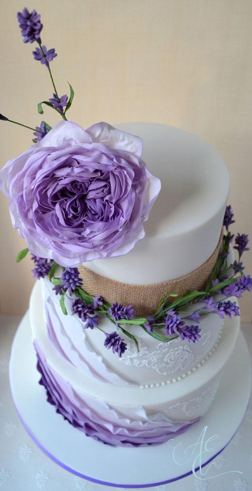 Wedding cake - lavender and rose design