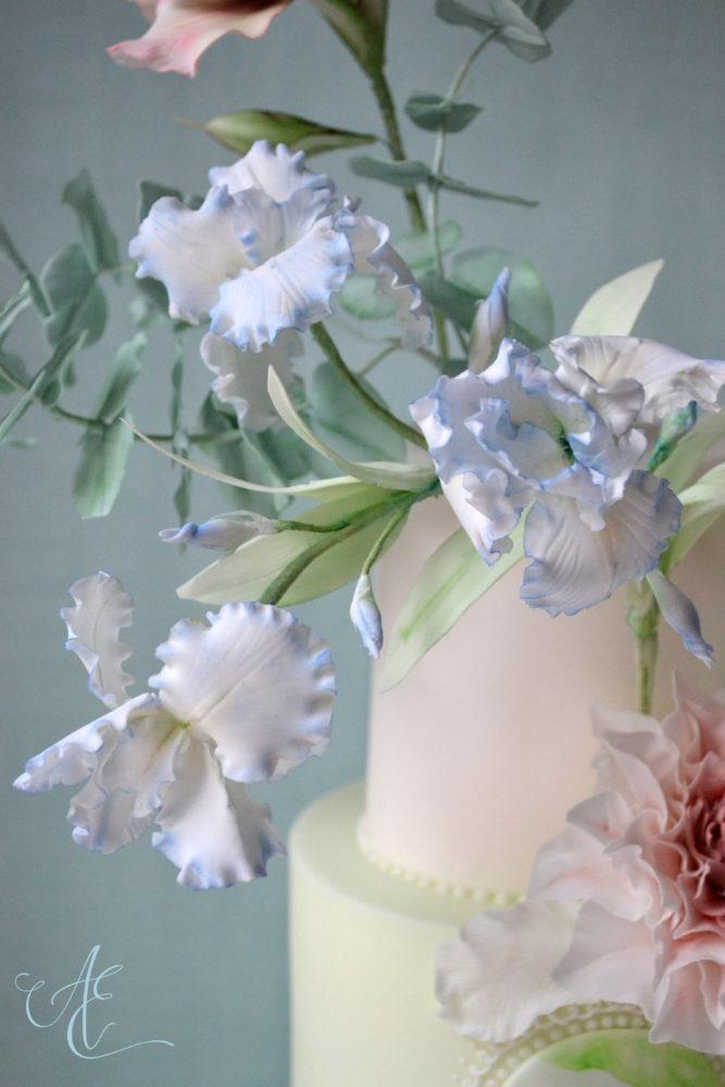 Blue Irises on cake