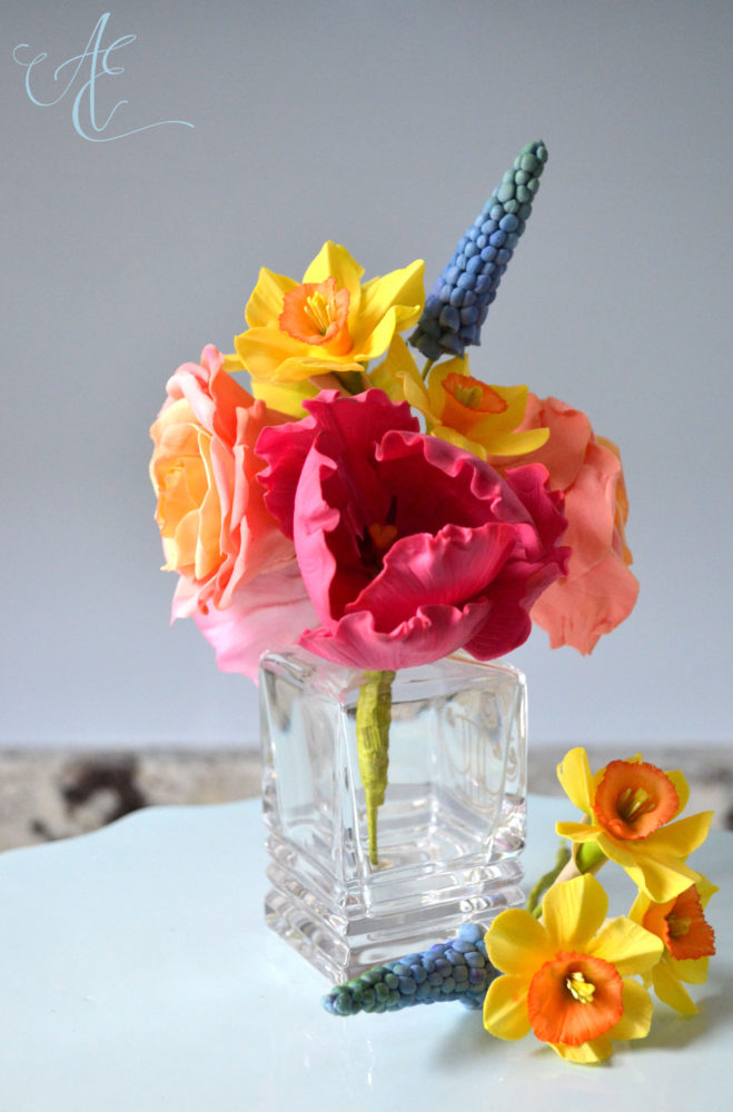 hot pink and yellow sugar flowers