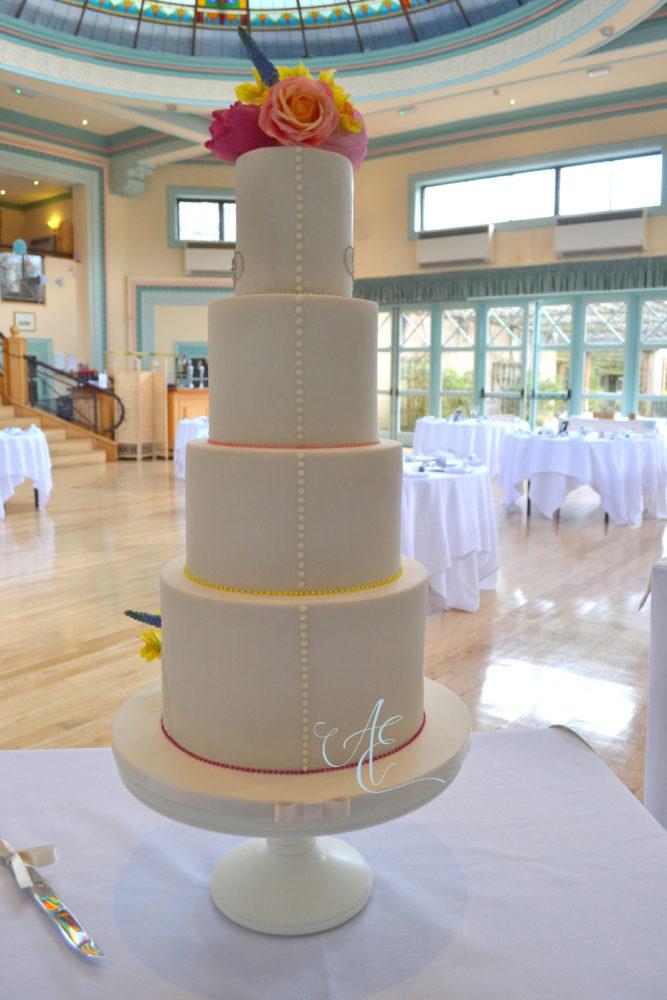 back of wedding cake