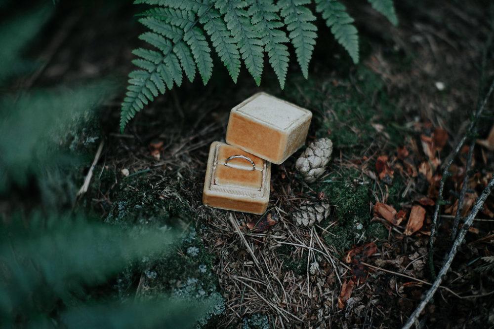 wedding ring in golden velvet ring box