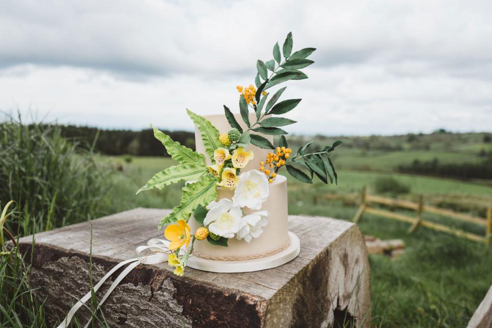 woodland wedding cake set against panoramic landscape
