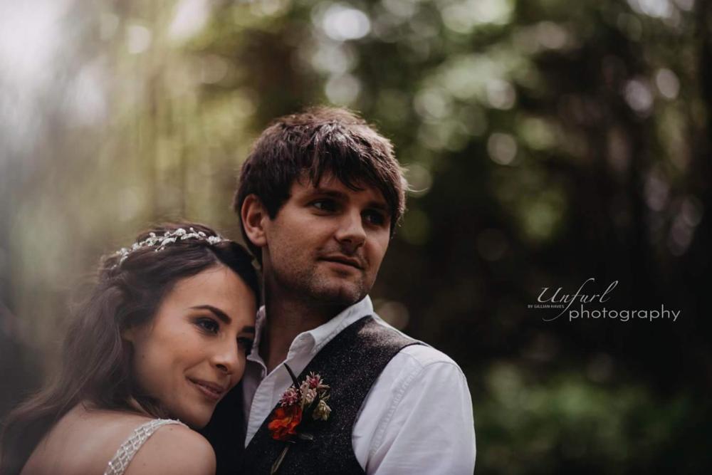 woodland wedding couple close-up
