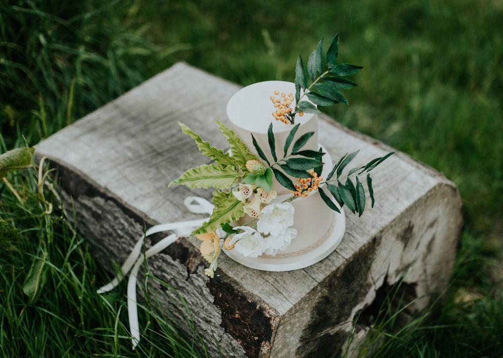 Woodland wedding cake on tree strump