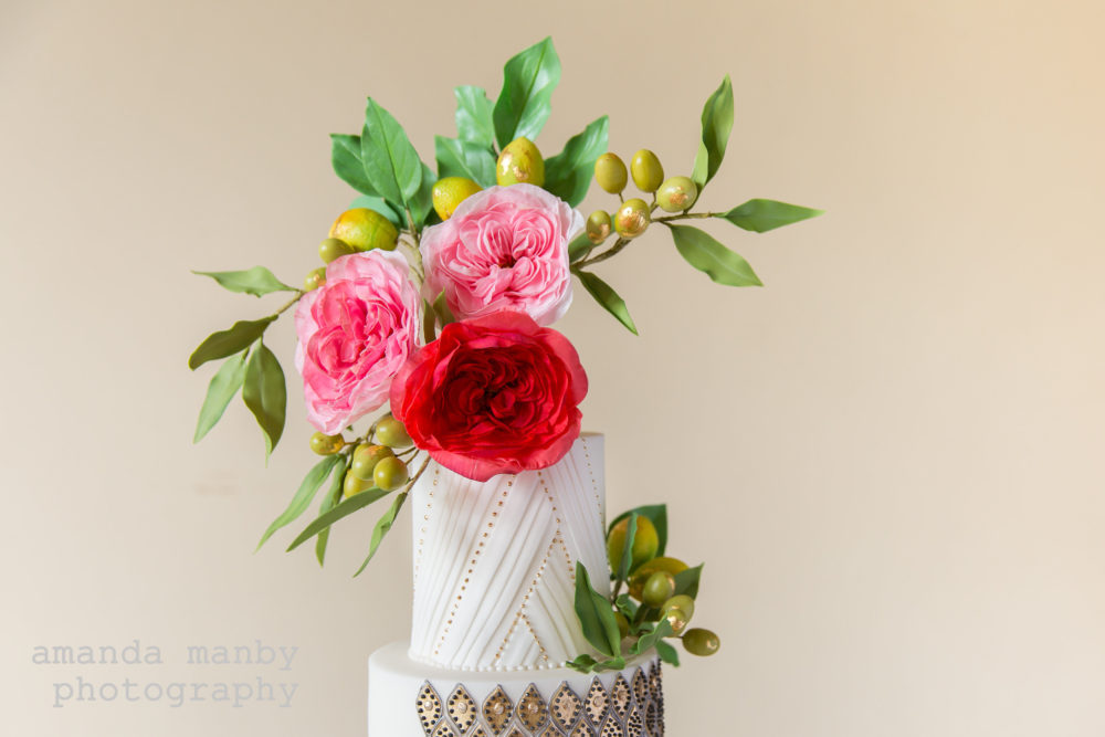 Moroccan wedding cake damask roses