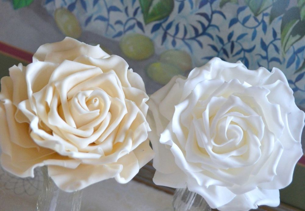 ivory and white sugar roses