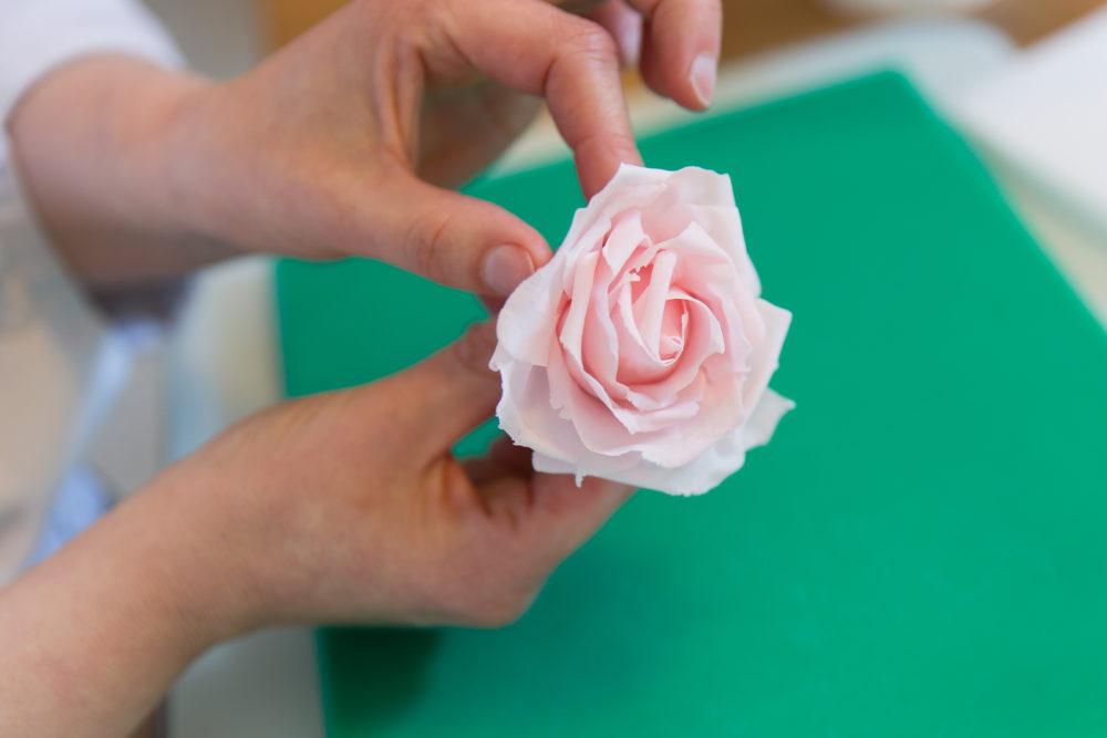 attaching final rose petal