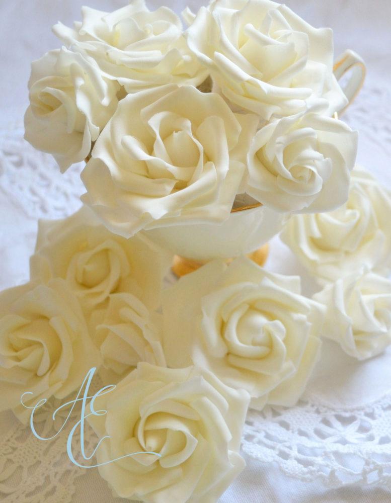 small ivory sugar roses