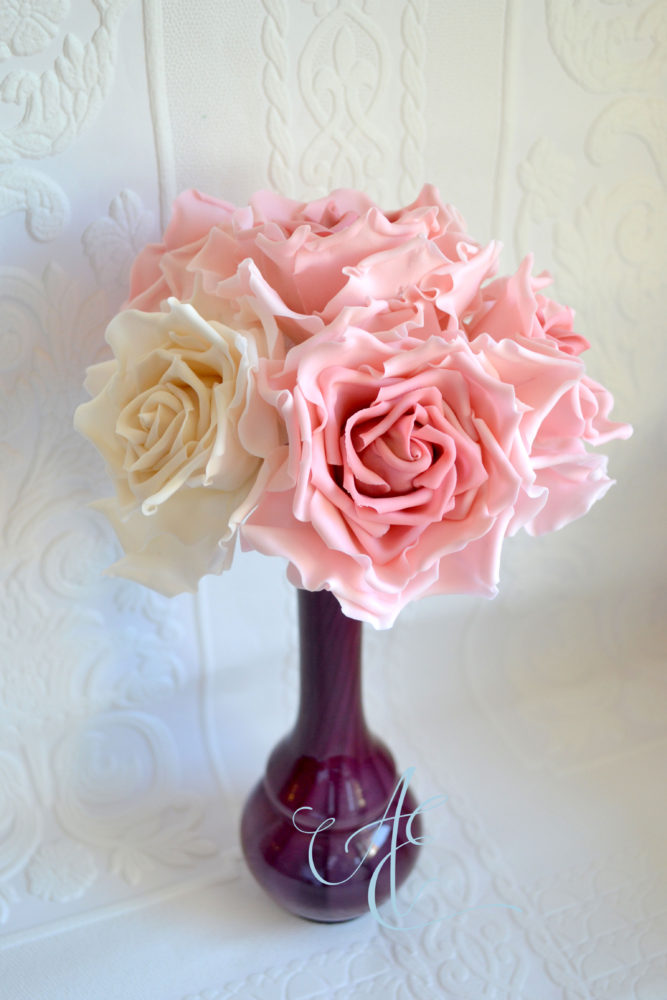 pink and ivory sugar roses