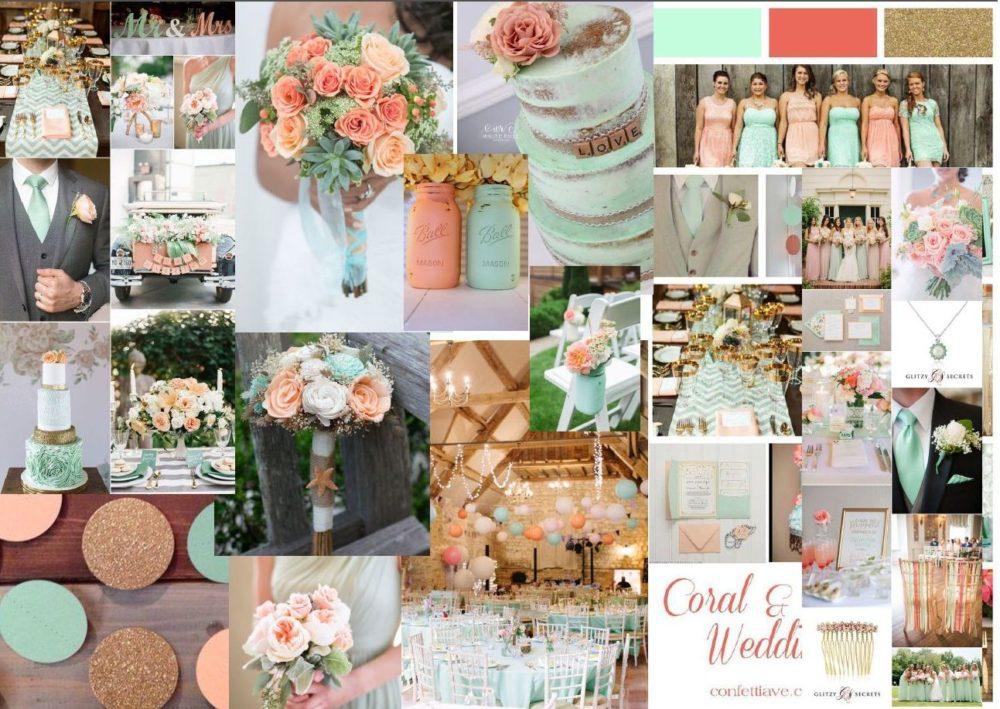 wedding fair mint peach and white moodboard