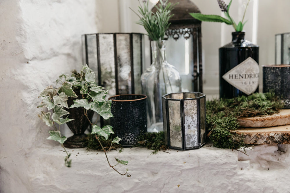 Mirrored votives and ivy