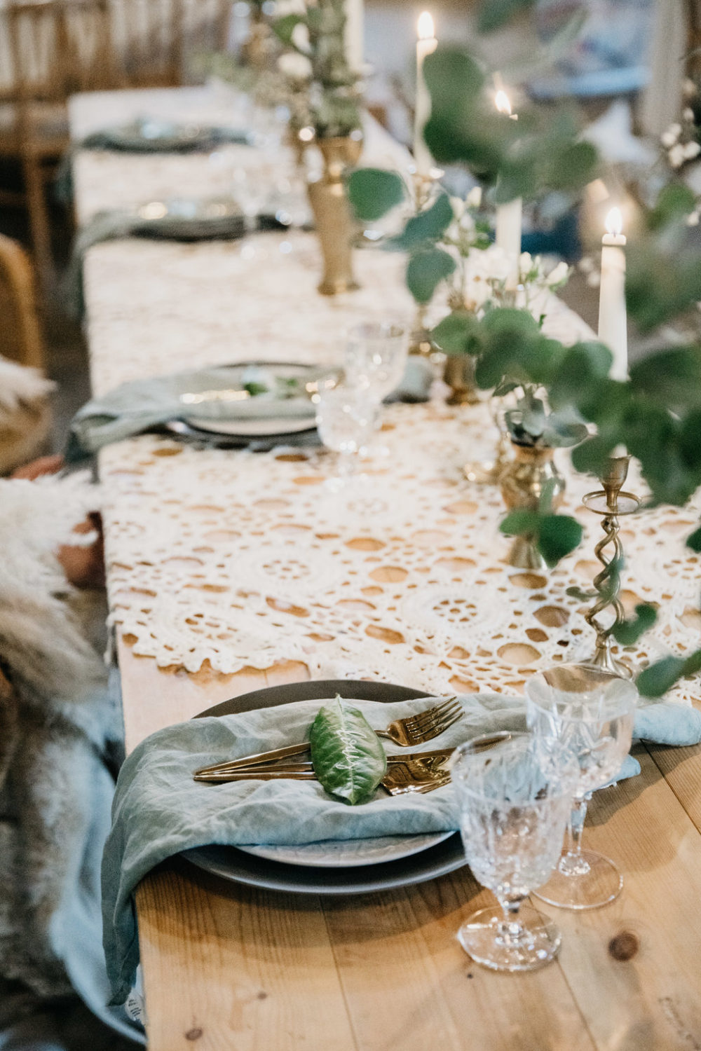 Top tablescape macrame brassware and glass