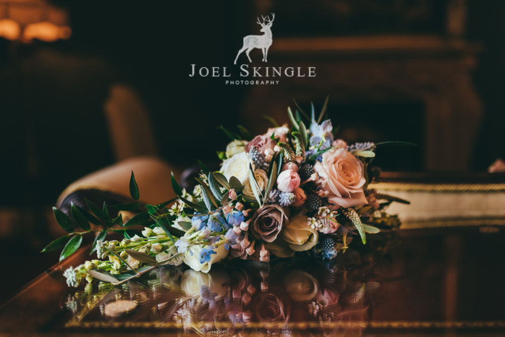 Blush pink and blue wedding bouquet by Twisted Willow Floristry