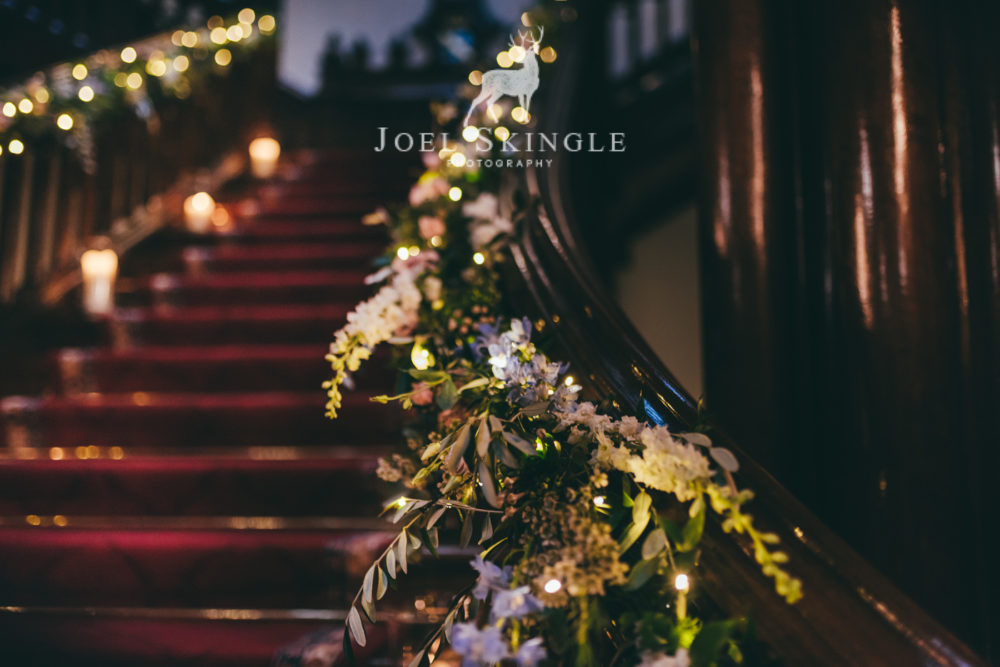 Staircase florals by Twisted Willow Floristry