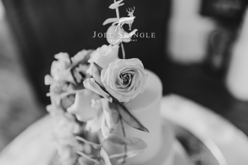 Floral wedding cake close up