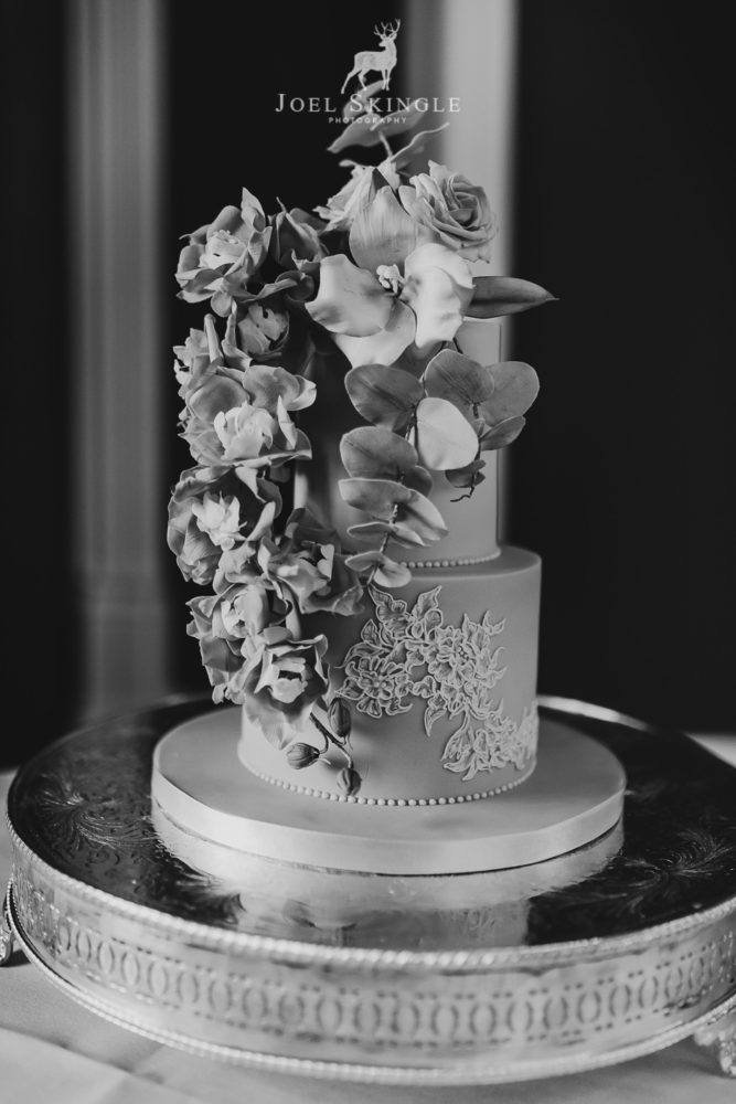 floral two tier wedding cake black and white image