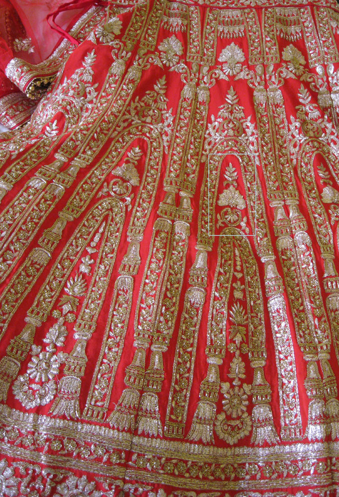 red and gold wedding dress fabric