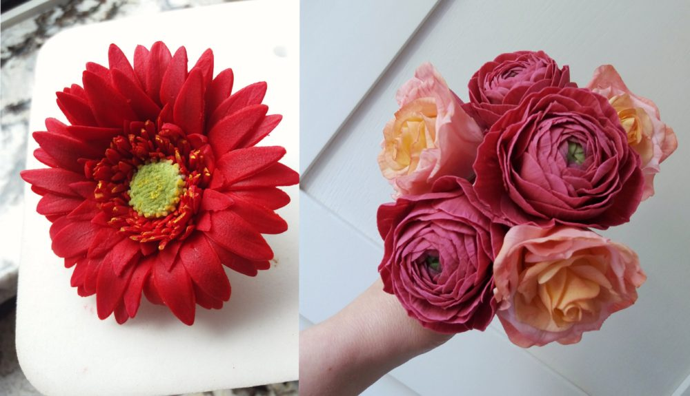 sugar gerbera ranunculi and miss piggy roses