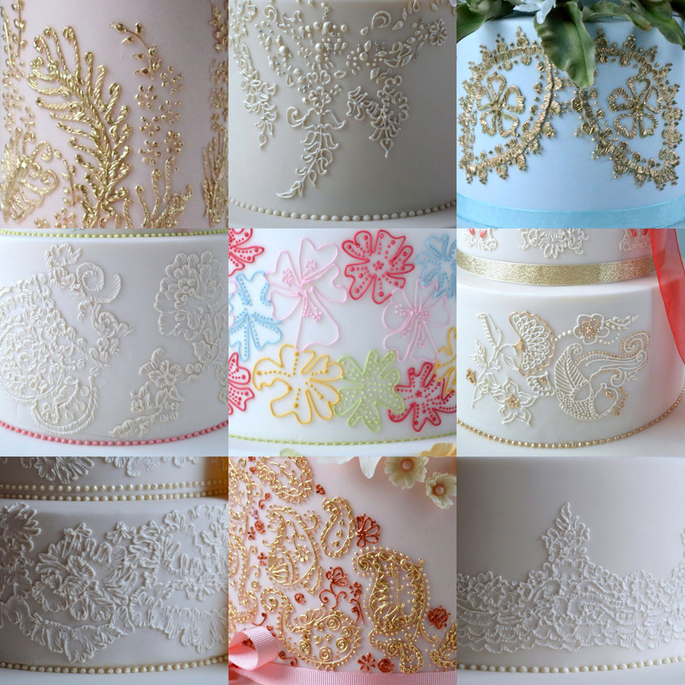 Collage of intricate piping work