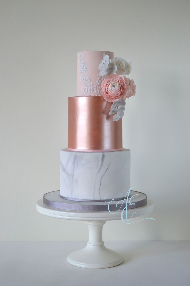 blush rose gold and marble wedding cake