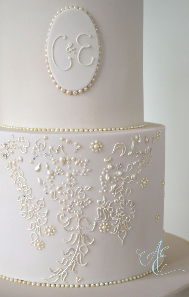 close up pearl and floral piped ruby wedding cake