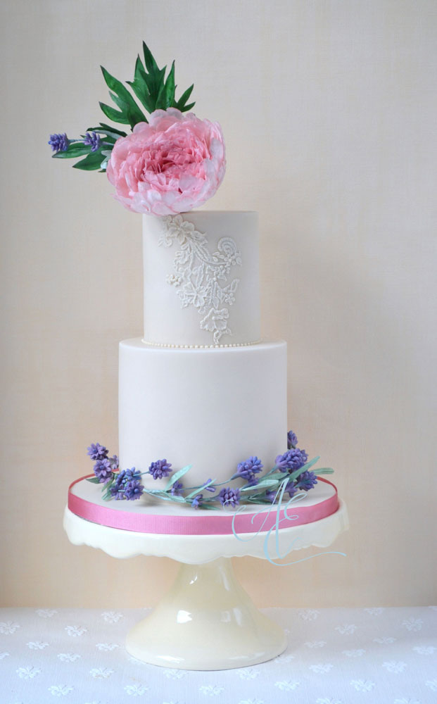 peony lavender and lace wedding cake design