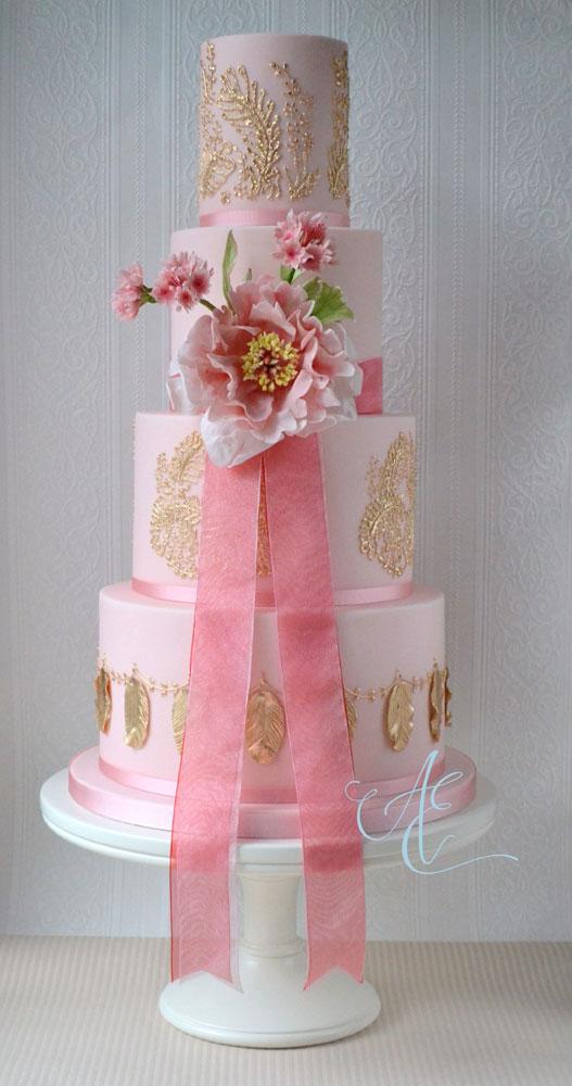 Wedding cake - pink and gold design