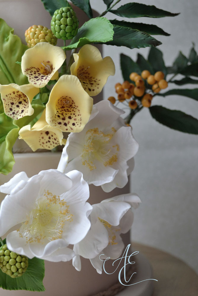 close up sugar foxgloves and dog roses