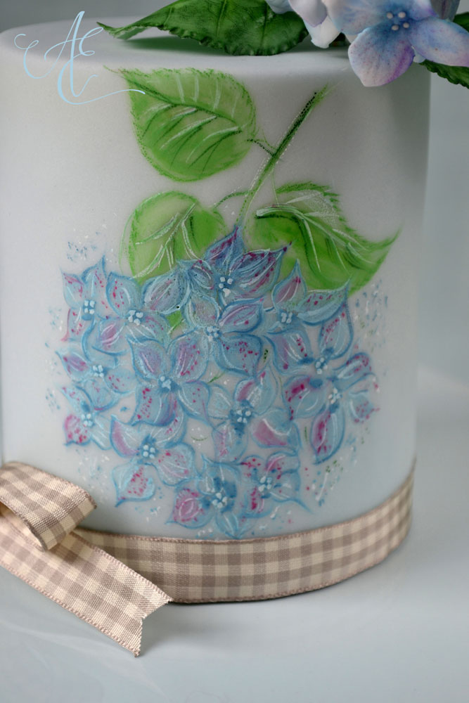 close up hand painted hydrangea wedding cake