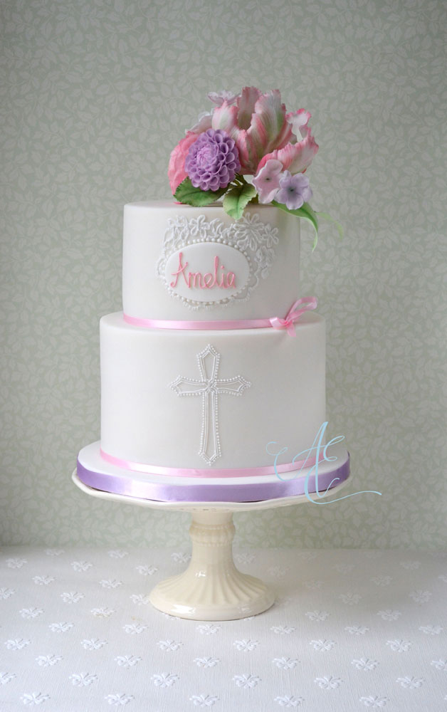 Christening cake with tulip and dahlia