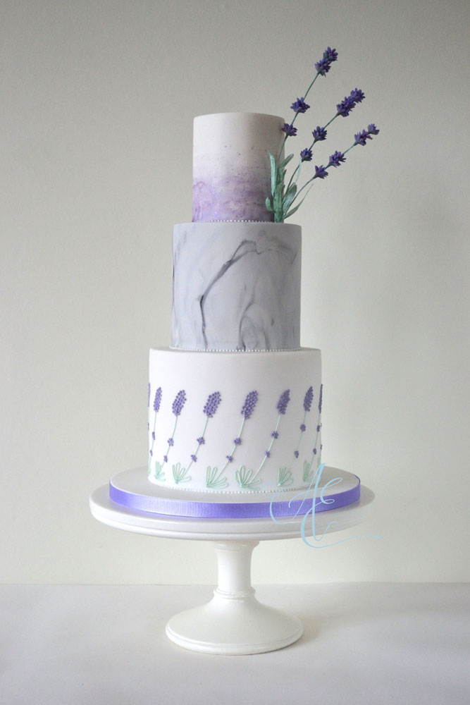 Watercolour marble lavender wedding cake