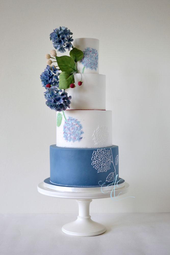 blue hydrangea wedding cake