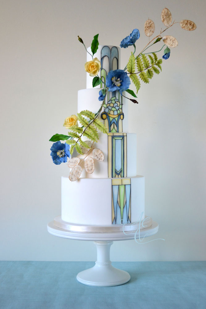 stained glass effect art deco wedding cake