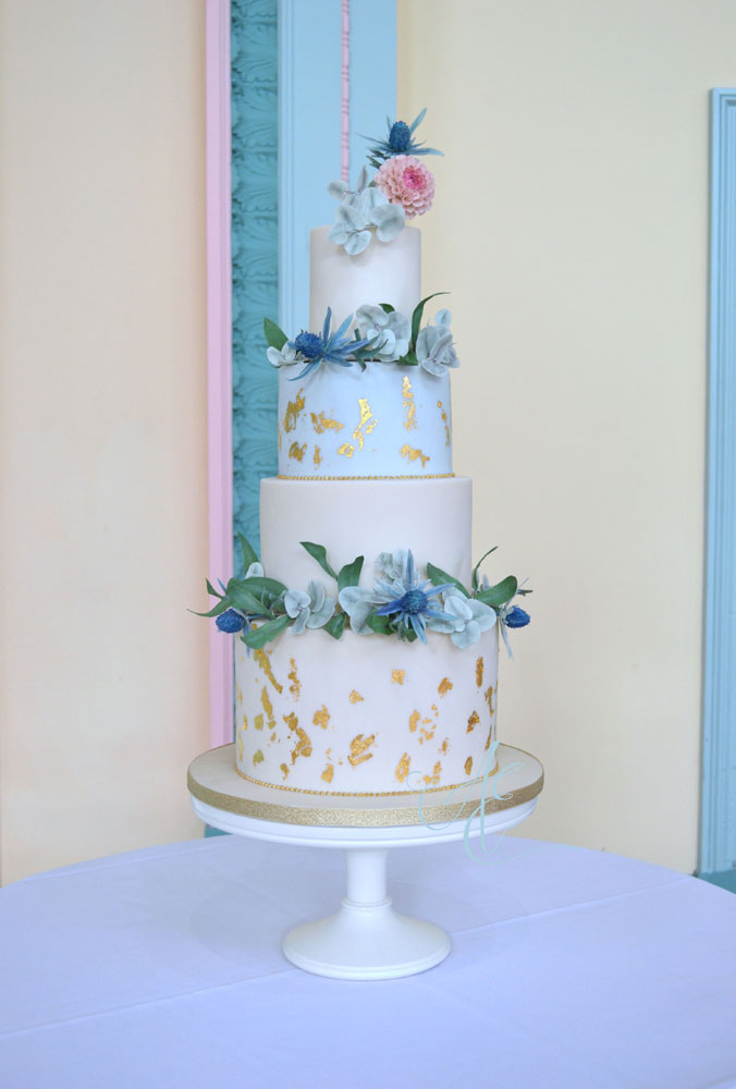 botanical and gold wedding cake in situ the sun pavilion harrogate alternative background