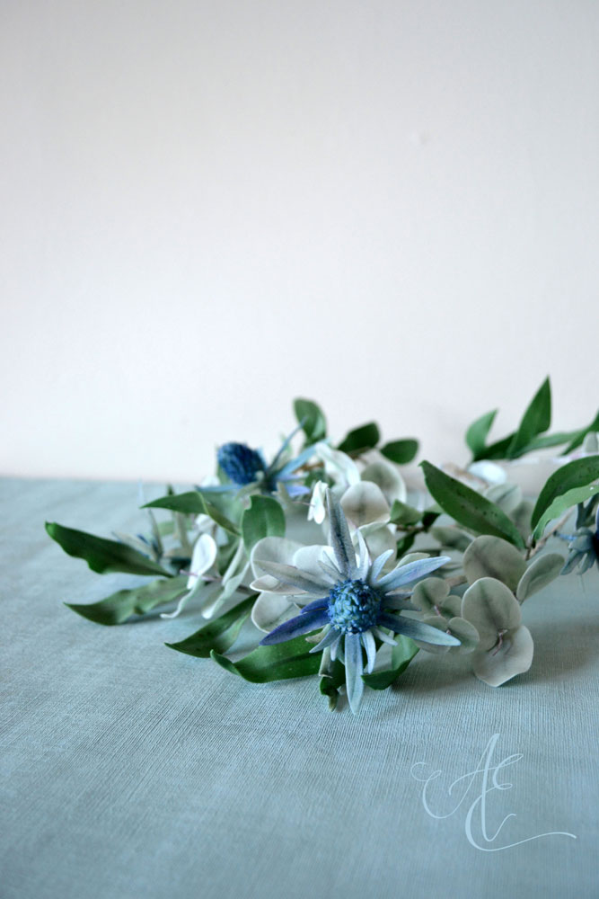 sugar flower and foliage garland