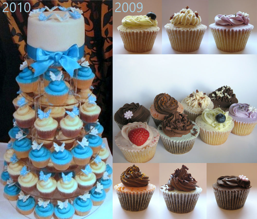 turquoise and white wedding cupcake tower and buttercream swirled cupcakes
