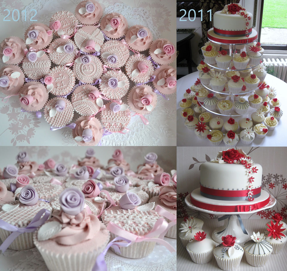 pretty laced piped pink cupcakes and a tower of red and white cupcakes