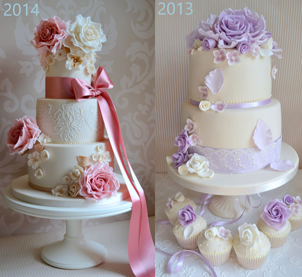 pink and lilac wedding cakes with sugar flowers and lace