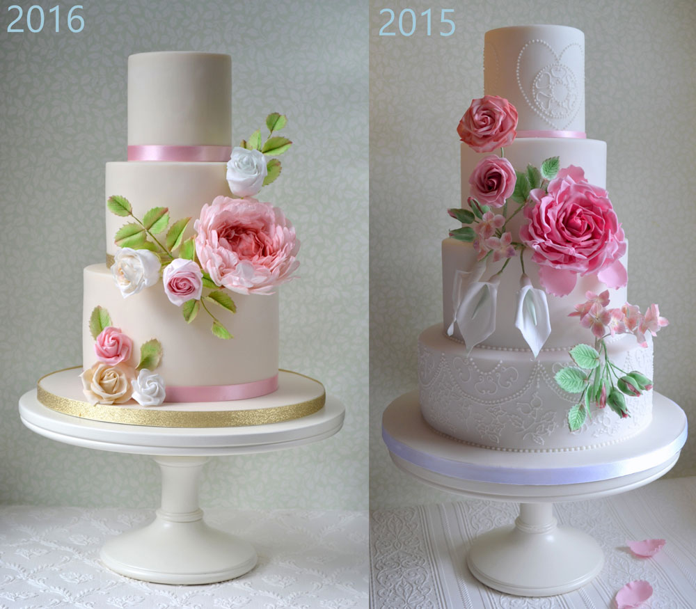 ivory wedding cakes with pink sugar flowers