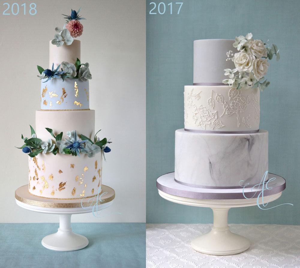 blue and grey wedding cakes