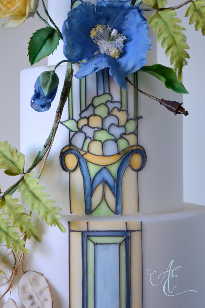 stained glass-inspired wedding cake