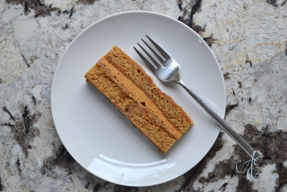 vegan caramel and praline cake slice