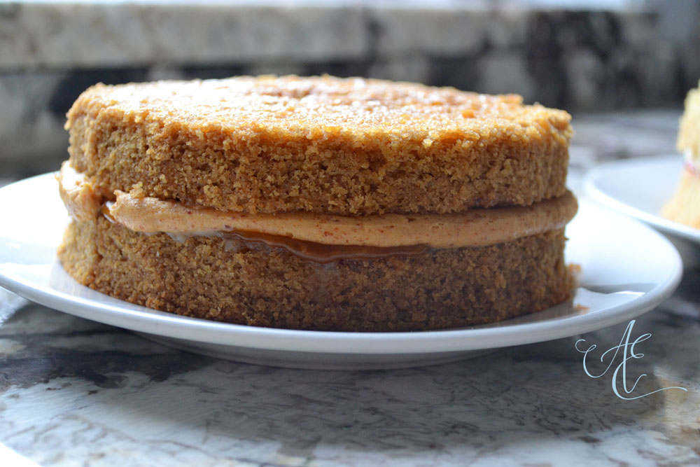 vegan caramel and praline cake