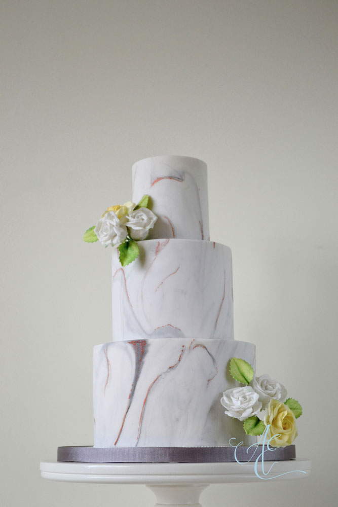 grey and copper marble wedding cake