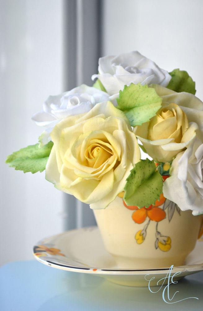 white and yellow sugar roses