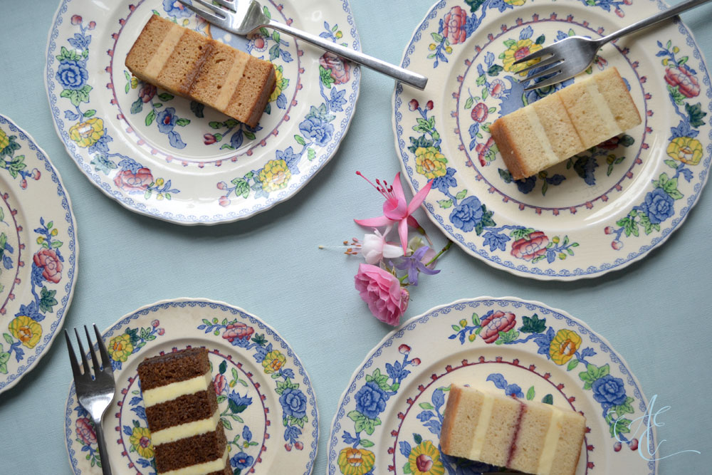 vintage plated cake slices close up